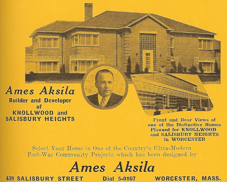 A city directory ad from the 1950s showing 2 Jamesbury Drive