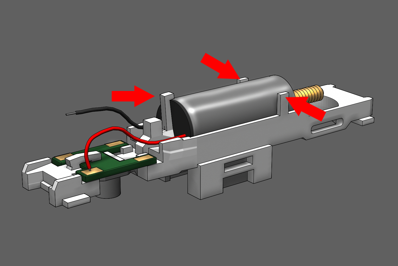 Step 10 - There are tabs on each side of the motor and a clamp at the rear. Push all three inward until they hold the motor firmly in place.
