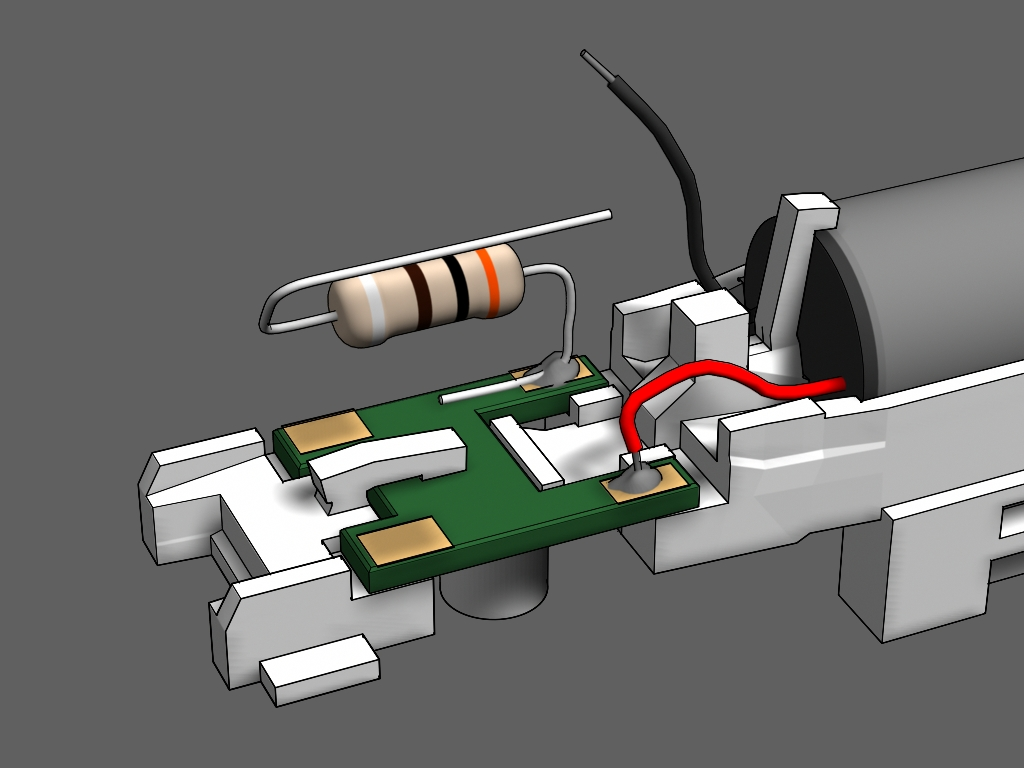 Step 15 - Use the resistor from the handrail kit for this step.1. Cut the resistor's leads on each side to 1/2 inch. Bend the leads into an