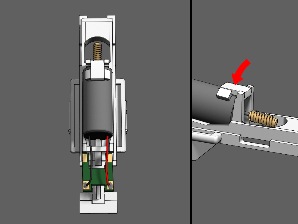 Step 4 - Place the motor exactly as depicted in the illustration. Looking at the frame from behind, the red wire will be on the right.Make sure the motor is pushed as far forward as the frame will allow.Push down on the frame clamp to lock the motor in place.