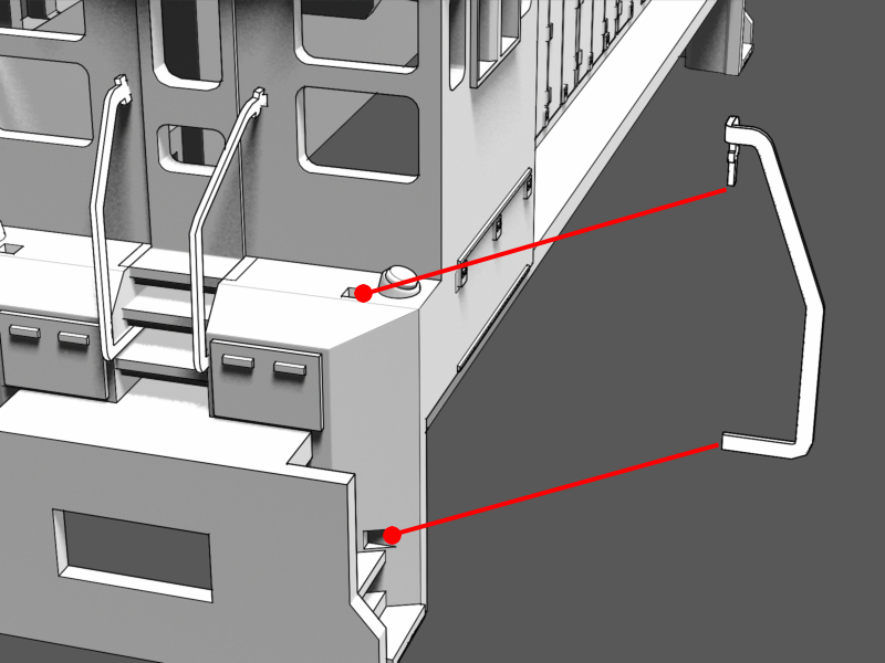 Step 13 - The bent handrail will line up with the hole on deck and the notch in the stairwell. The notch is located on the stairwell wall by the second step from the bottom.Test the fit before moving on.Notice the bend in the handrail turns toward the cab.