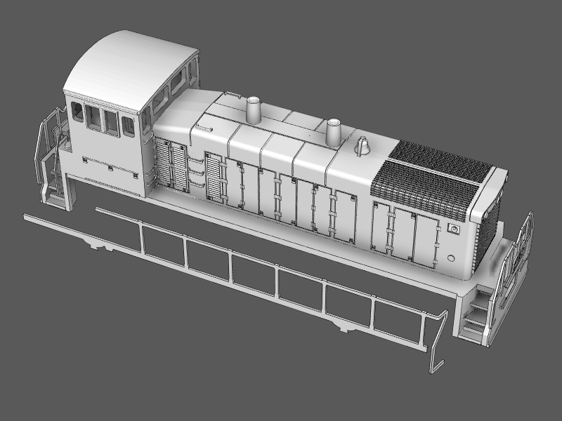 Step 20 - Apply glue to the side of the walkway and in the depression under the cab.Attach the handrails to the shell.