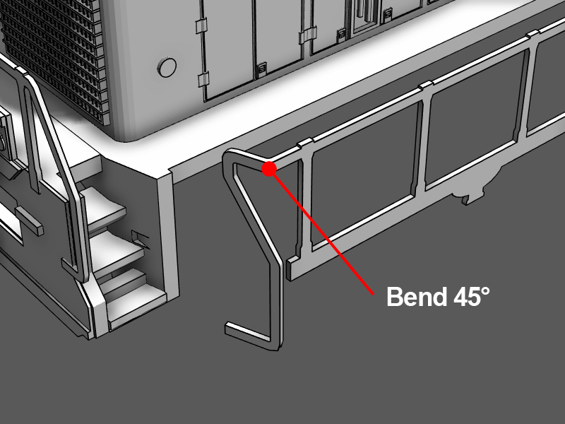 Step 23 - Bend the stair case handle 45 degrees toward the shell.Apply CA glue to the shell on side of the walkway and attach the handrails.Just like in step 21, use a toothpick to apply glue to the bottom end of the handrail.