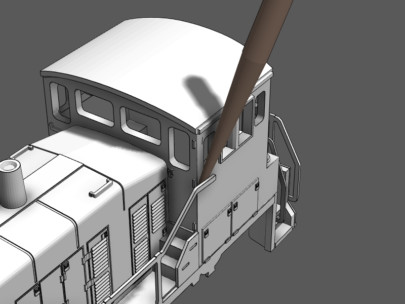 Step 24 - Use a toothpick to apply glue where the handrails meet the cab.