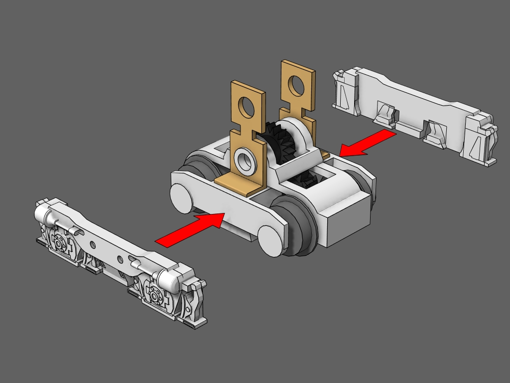 Attach - Removing the shorty trucks from the motorized frame will make this step easier.Apply a thin coat of CA glue to one side of the shorty truck.Attach the details to the truck.Repeat for the other side.