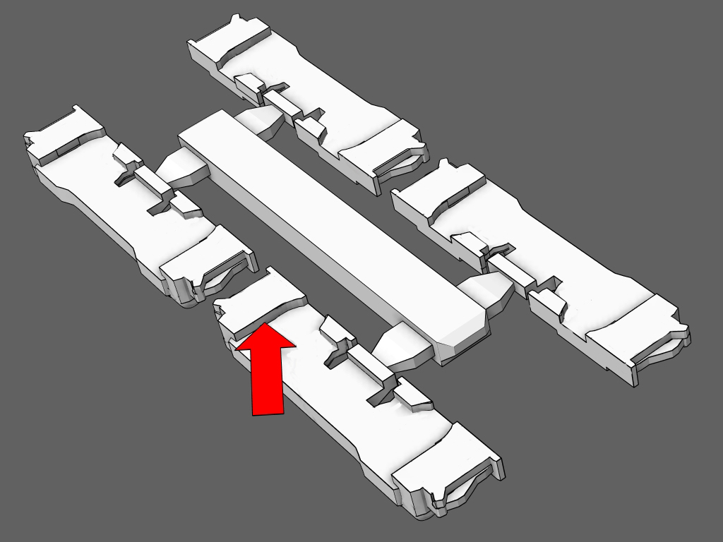 Adjust - After painting, carefully snap the trucks off the sprue.Check the fit of the details on the shorty trucks before gluing them in place.The red arrow is pointing to the inner wall that wraps around the shorty's truck. Scrape with a blade or sand this area if it is too tight on the truck.NOTE: The illustration shows the backside of the truck details.