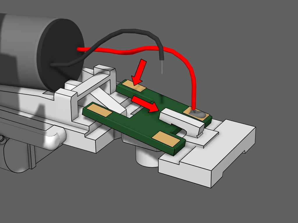 Step 5 - Cut the black wire from the circuit board.Insert the circuit board under the clamp arm and slide it into place. Push the board down into the fame.