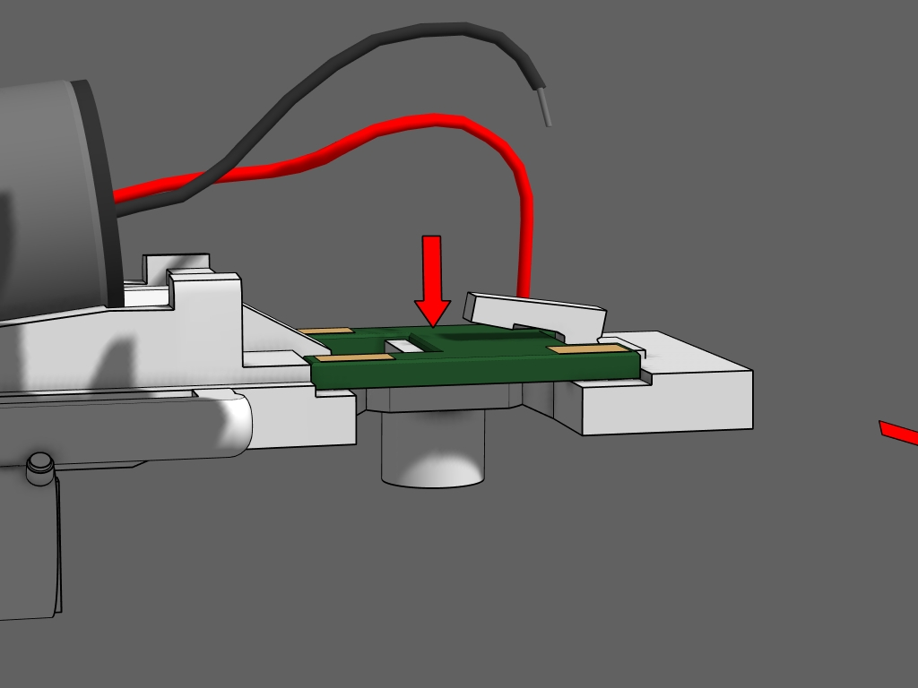 """Step 6 - It should lay flat and even in the frame. Don't close the clamp arm until you are sure the board fits perfectly in place.NOTE: Some shorty circuit boards are not perfectly """"H"""" shaped. Use a file or sand paper to open up the notches so it will fit."""