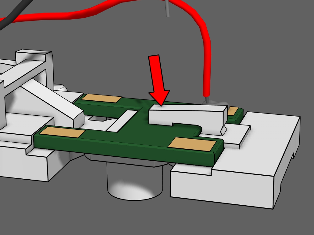 Step 7 - Push down the clamp arm to lock the circuit board into place.