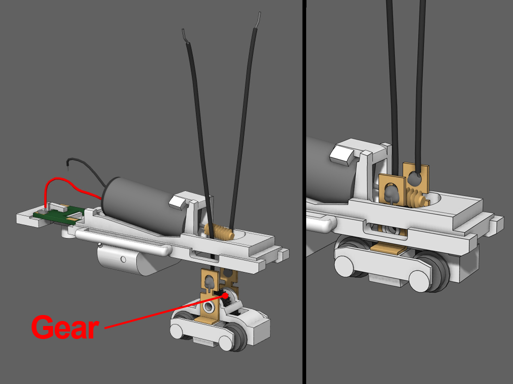Step 12 - 1. Insert the black gear back into the truck. Arrange the truck so that the side with the chopped off coupler box is facing the fuel tank (This will leave extra room for the couplers).2. Slip the wires into the frame past the worm gear.3. Push the truck up into the frame.