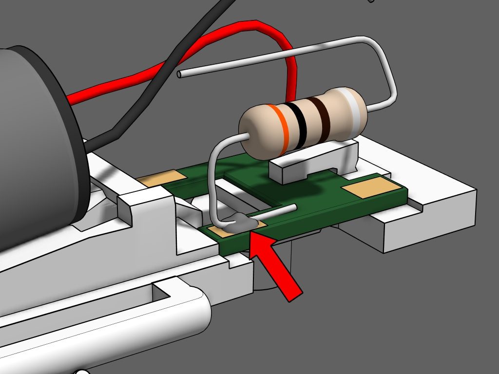 Step 14 - Use the resistor from the handrail kit for this step.1. Cut the resistor's leads on each side to 1/2 inch. Bend the leads into an