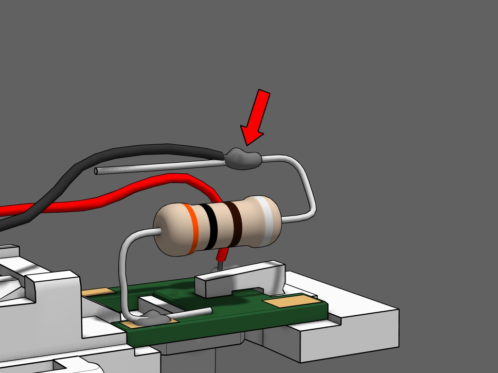 Step 15 - Solder the black wire to the other end of the resistor.