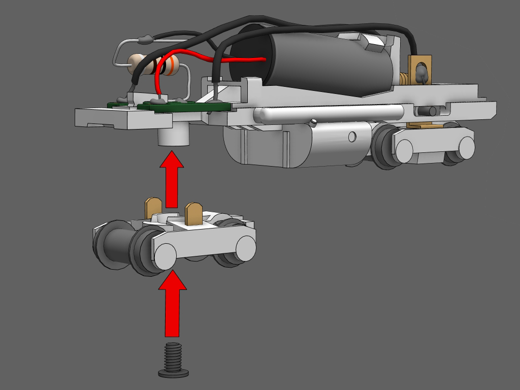 Step 17 - Place the other truck onto the frame.Arrange the truck so that the side with the chopped off coupler box is facing the fuel tank (This will leave extra room for the couplers).Tighten the shorty's screw into place to hold the truck onto the frame.