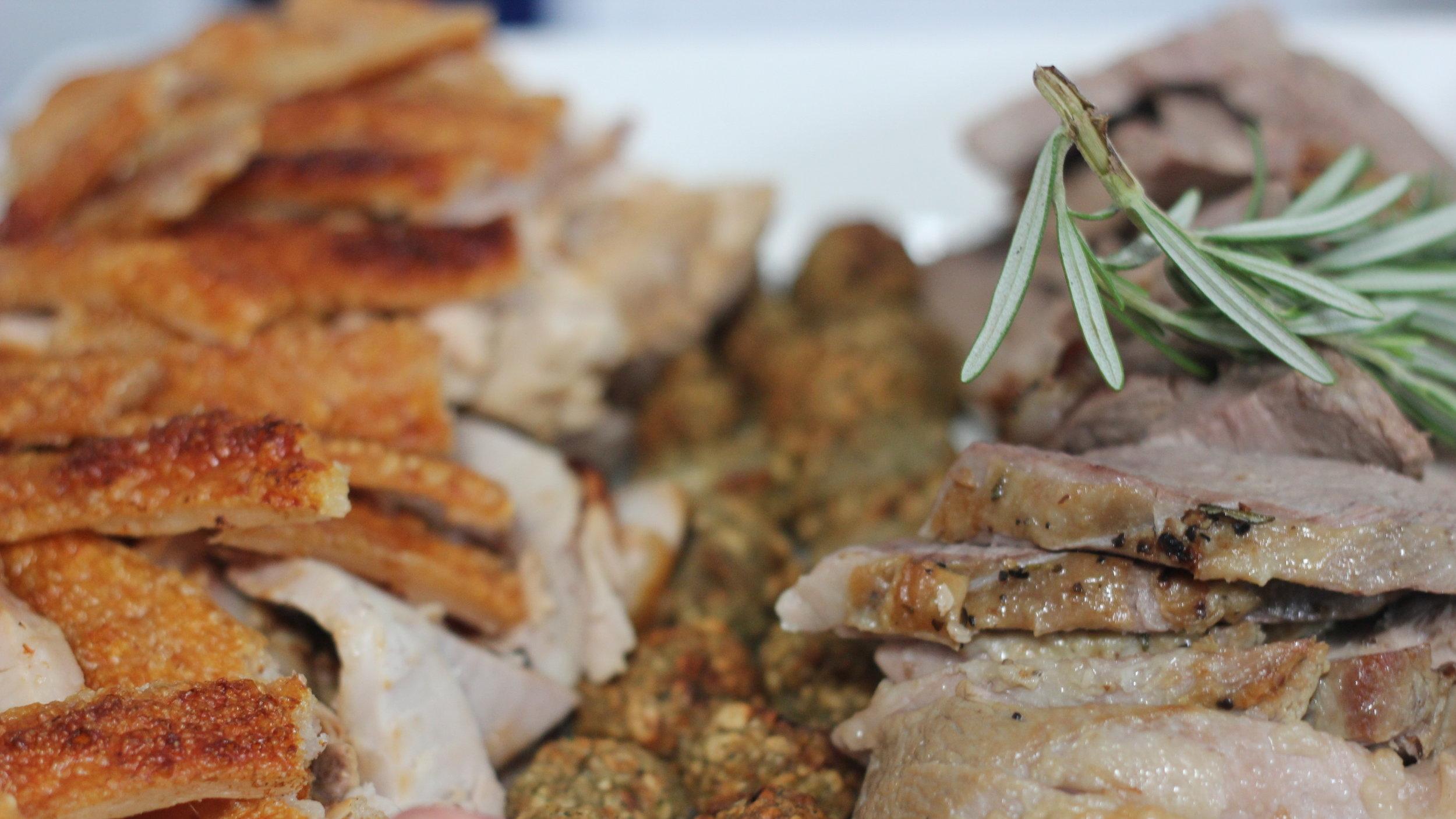 Hog and lamb platter