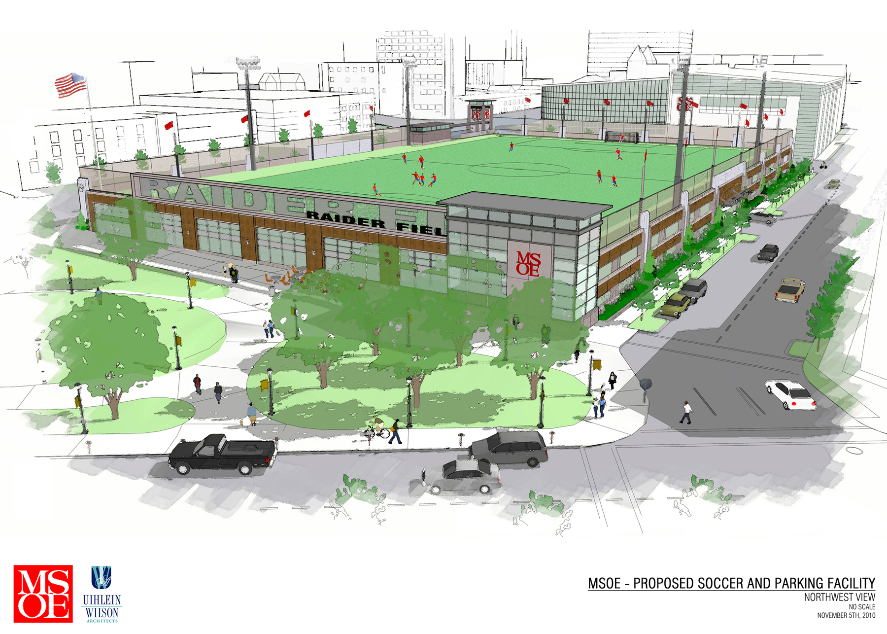Milwauke School of Engineering soccer and parking facility by Uiblein Wilson Architects.