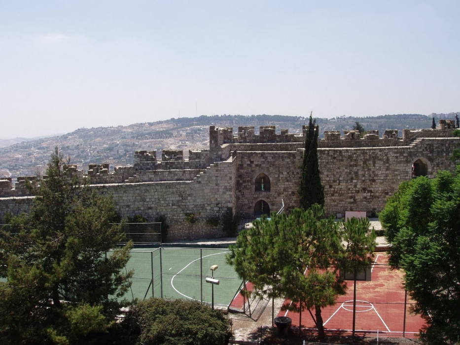 Basketball courts surrounded by Jerusalem's ancient walls