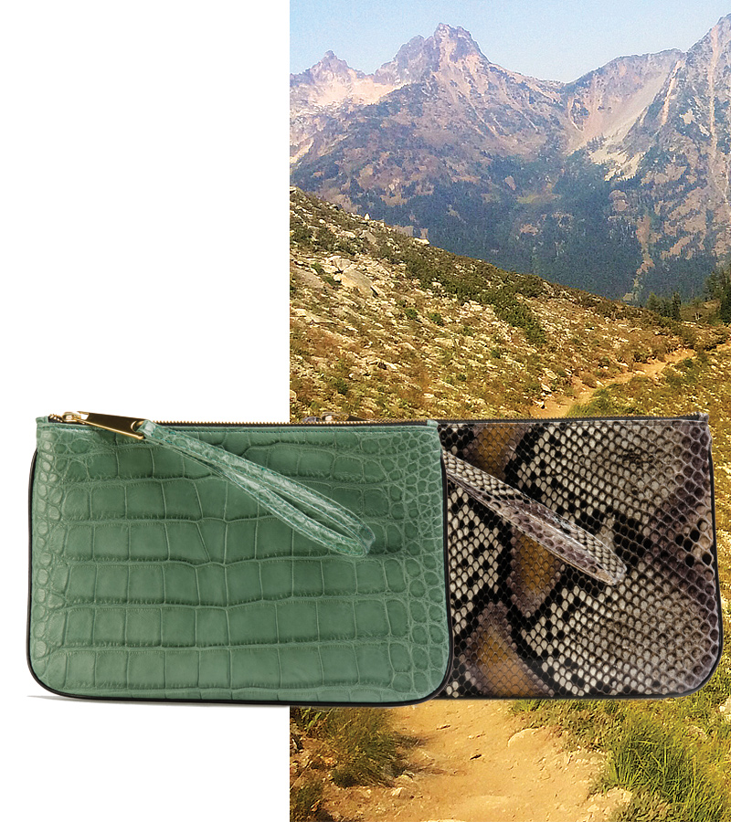 Tokyo Wristlet, Jade Alligator or Marais Python. Background: North Cascades National Park, Washington