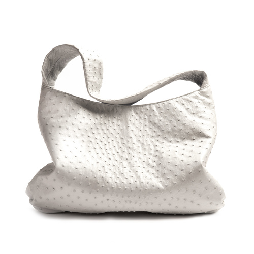 Charlotte Hobo , White Pearl Ostrich, Royal Blue Lamb Leather Lining