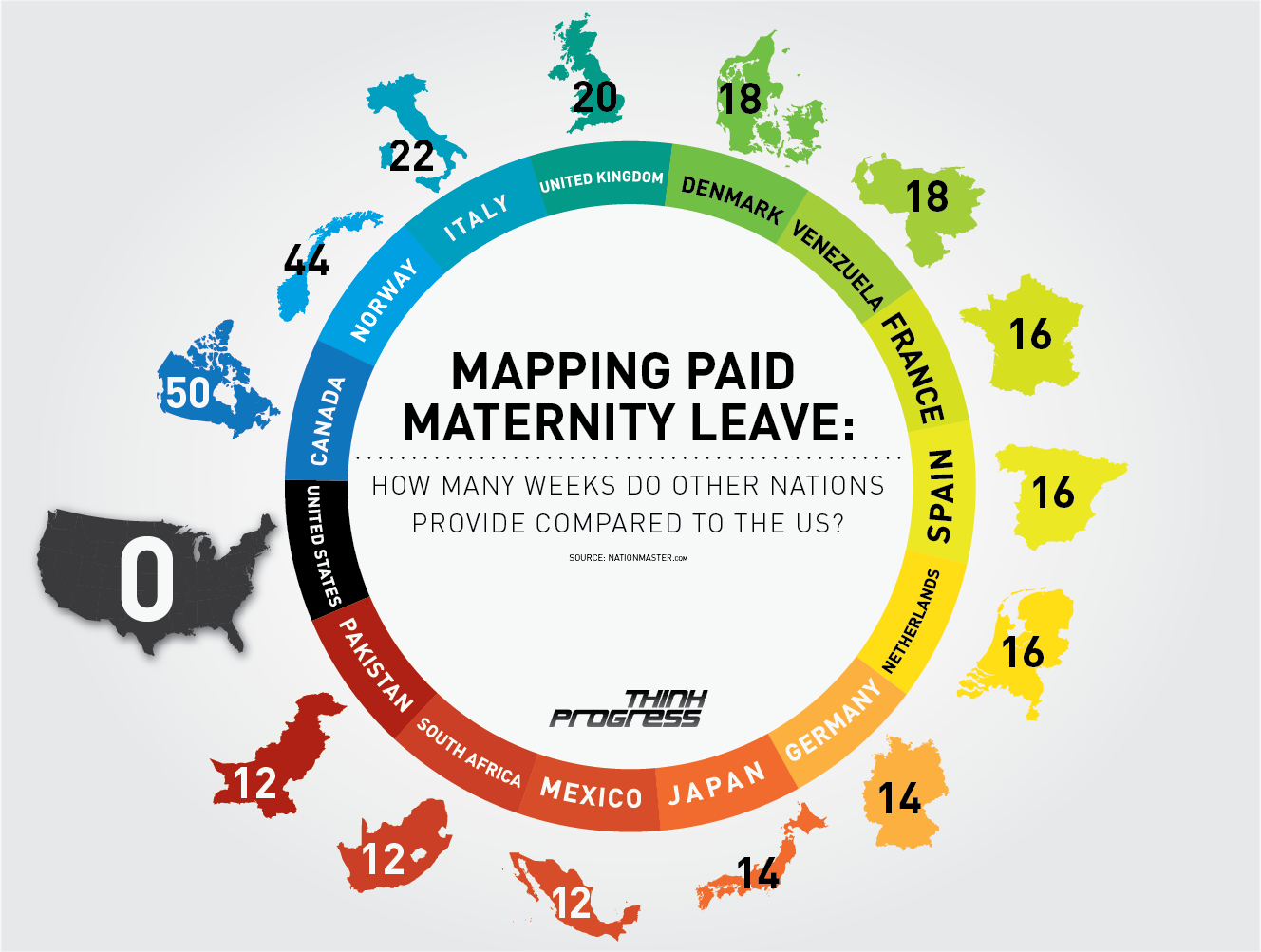 Graphic via  Thinkprogress  comparing paid Maternity leave.