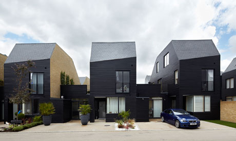 Houses designed by Alison Brooks for the Newhall estate in Harlow, Essex.   Photograph: Paul Riddle