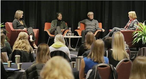 A panel of women architects talked about the business case for women in architecture at an AIA Minnesota Convention. From left are Michelle Mongeon Allen, Renee Cheng and Julie Snow. Amy Kalar, right, moderated the discussion. (Staff photo: Bill Klotz)   Read more:
