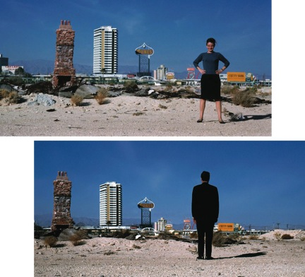 """Image Caption: Bob and Denise stand alone in the desert in this collage (1966 study for Learningfrom Las Vegas). The team refuses to accept lone stature in the recognition of their work. HarryBolick commented, """"Architecture,design and creativity can be a symbiotic product of more thanone person's individual vision. Bob and Denise were both willing to forego the AIA Gold Medal infavor of standing firm throughout a lifetime of creative production. Their forbearance representshow and why this culture shift has, finally, after 108 years, come to be recognized by the AIA andother leading Institutions."""" Photographers: Robert Venturi (above) Denise Scott Brown (below)"""