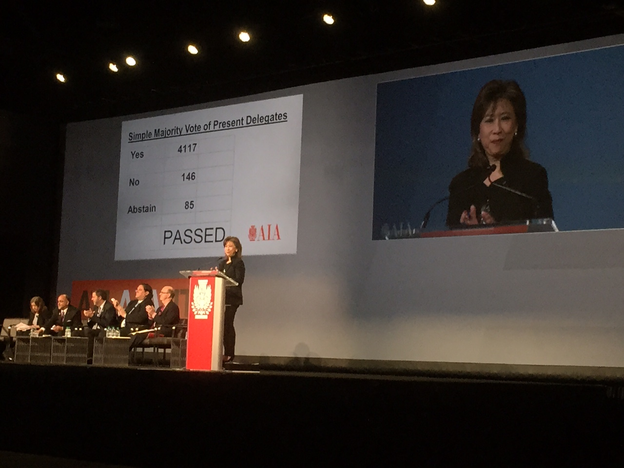 An overwhelming majority voted for Equity in Architecture Resolution 15-1 at AIA National Convention in Atlanta