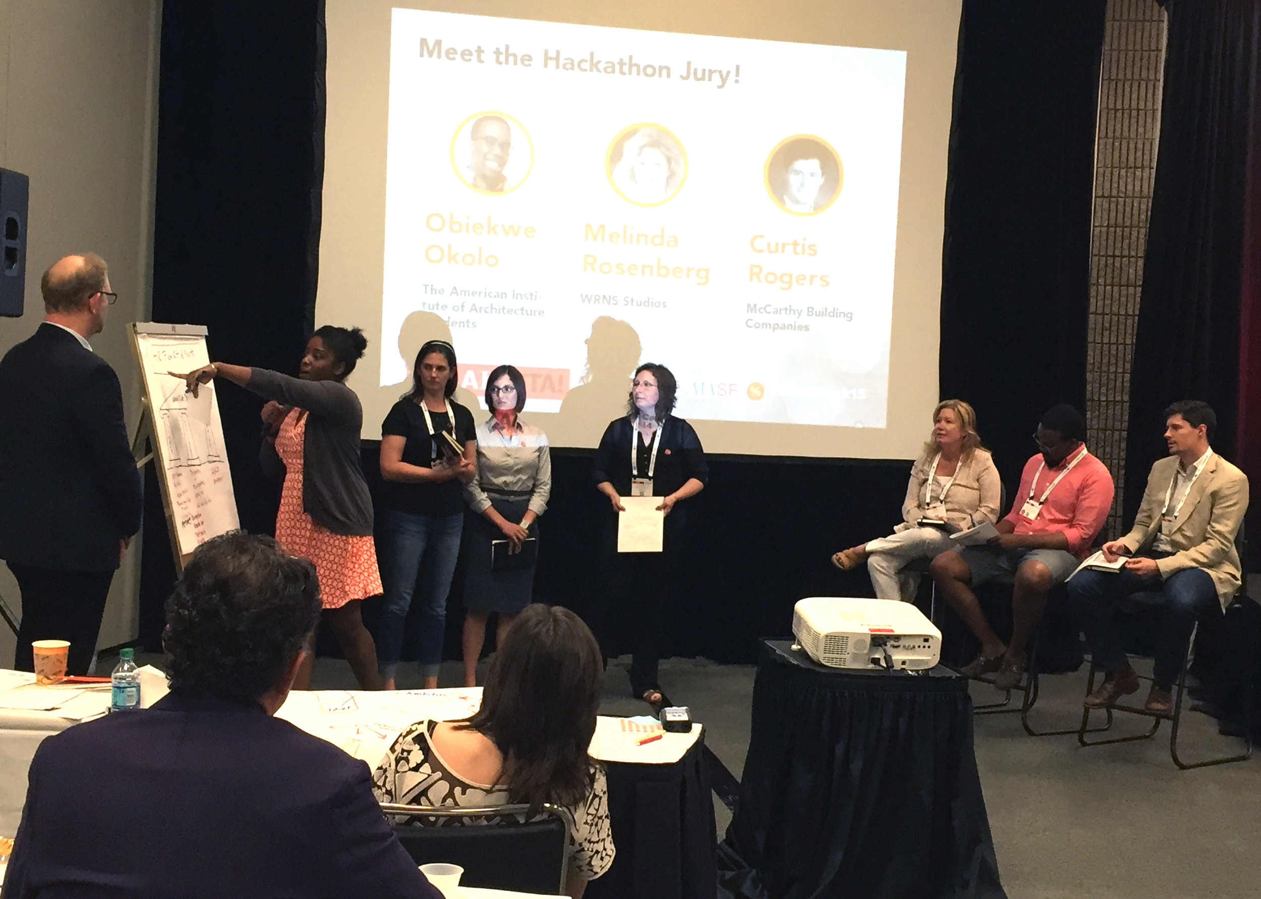 Phil Bernstein, Melissa Daniel, Ashley L. Dunn, Morgan Maiolie and Shawna Hammon present to the EQxD  Hackathon judges