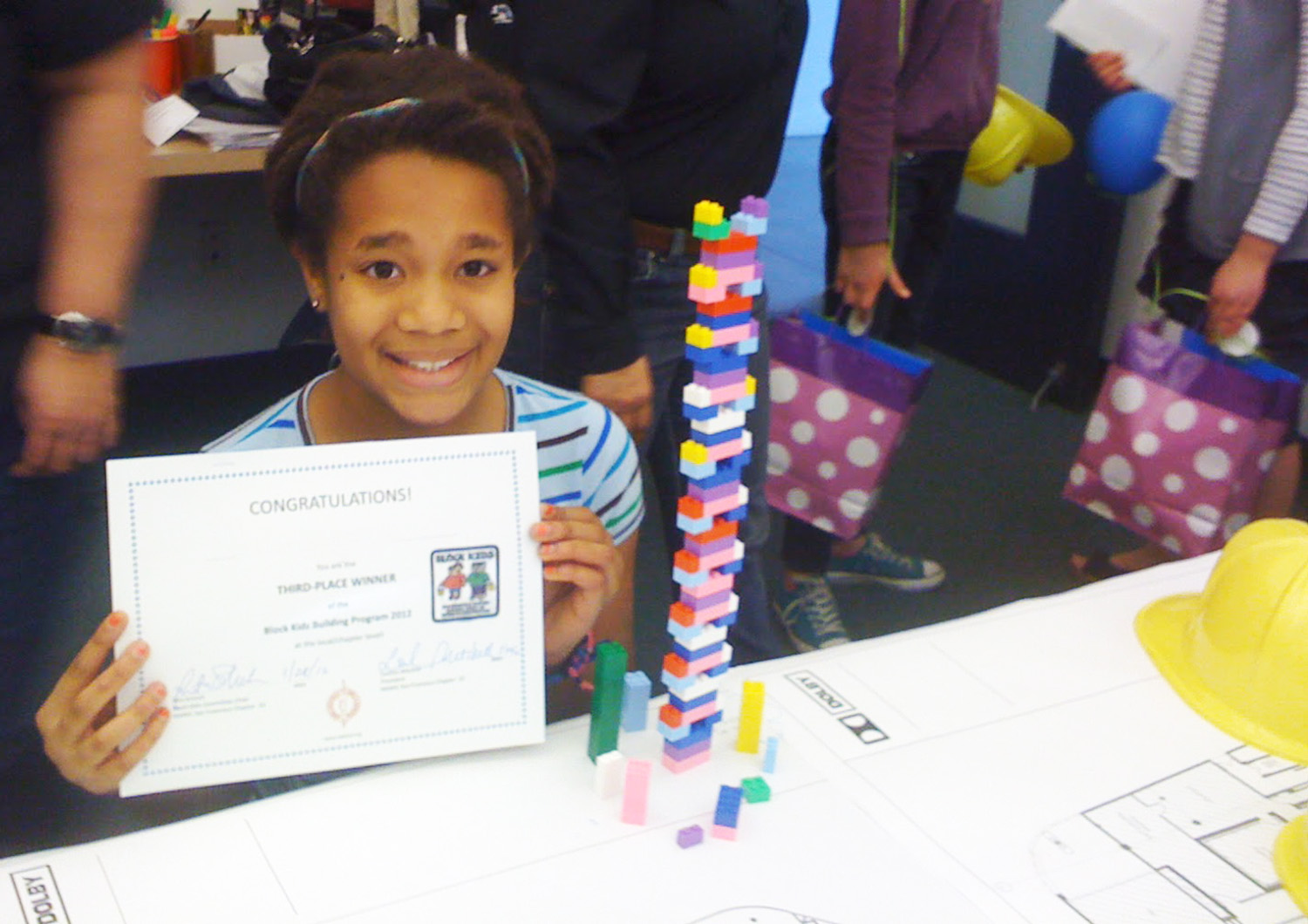 Katherine's daughter celebrates competition at the 2012 San Francisco NAWIC/Girl Scout Building Block day