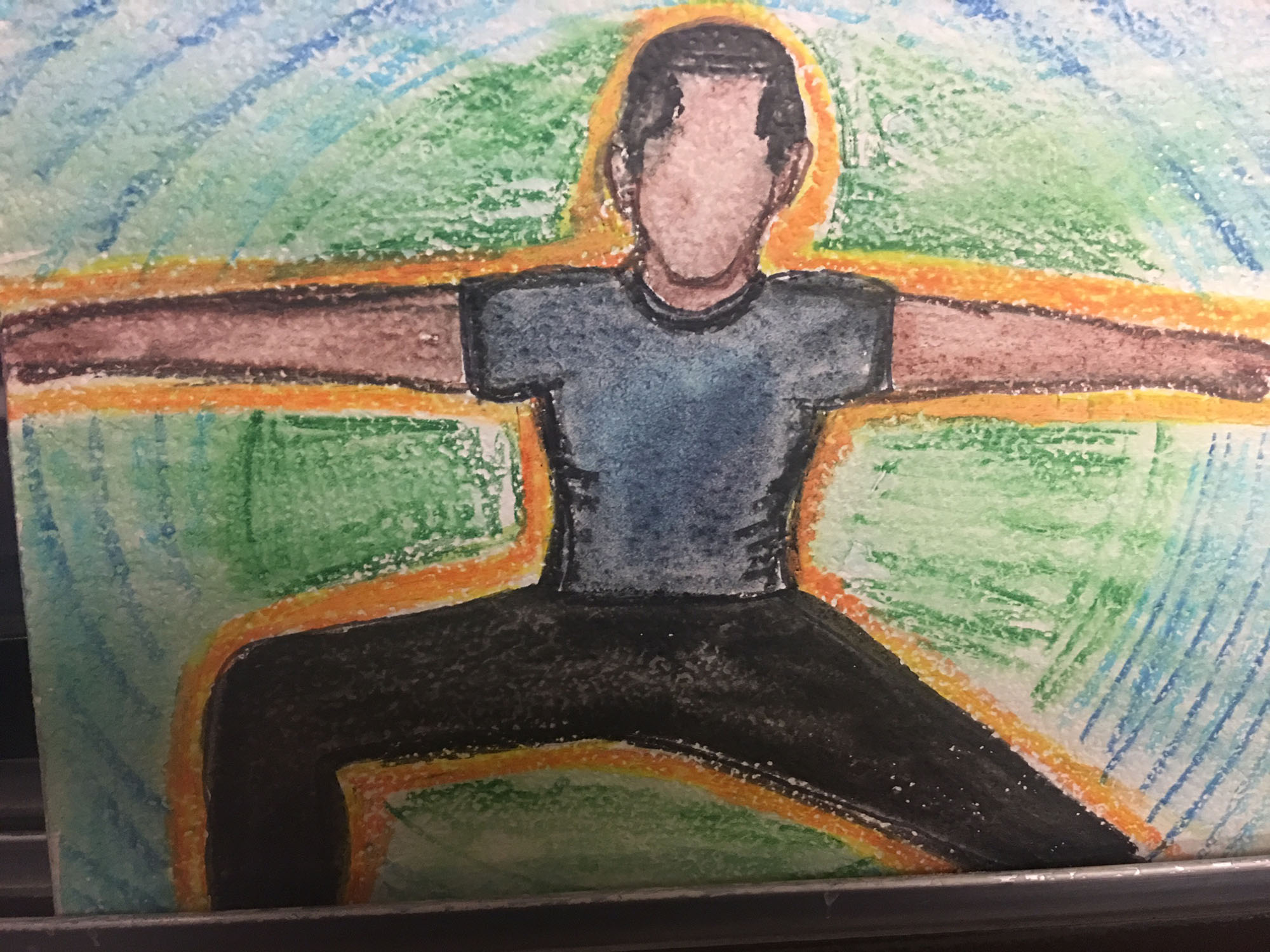Michael's depiction of himself, practicing yoga.