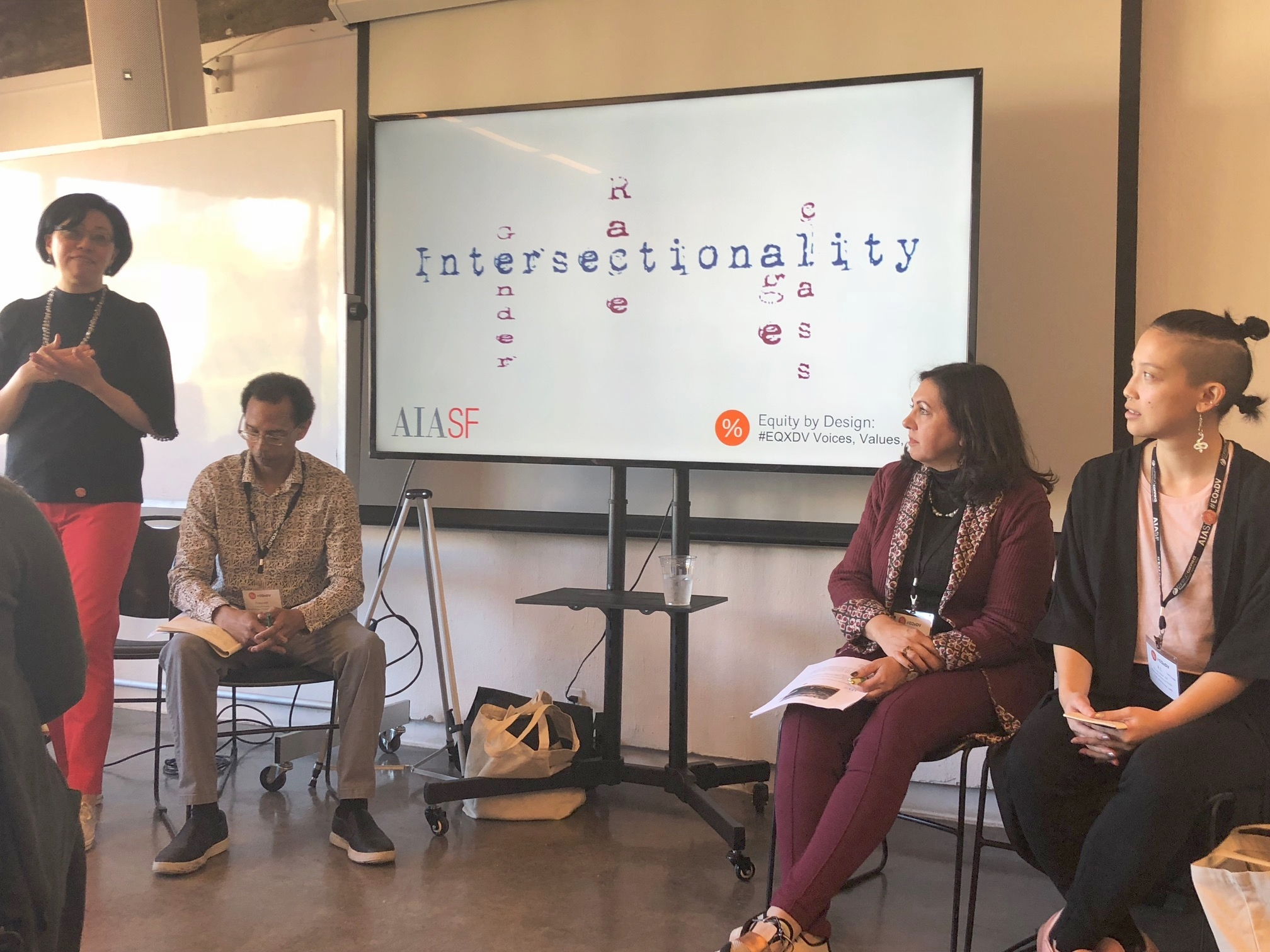 Intersectionality Workshop Presenters - (Right to Left) Rosa Sheng, Prescott Revis, Mani Farhadi, and A.L. Hu. Photo by Taylor Holloway.