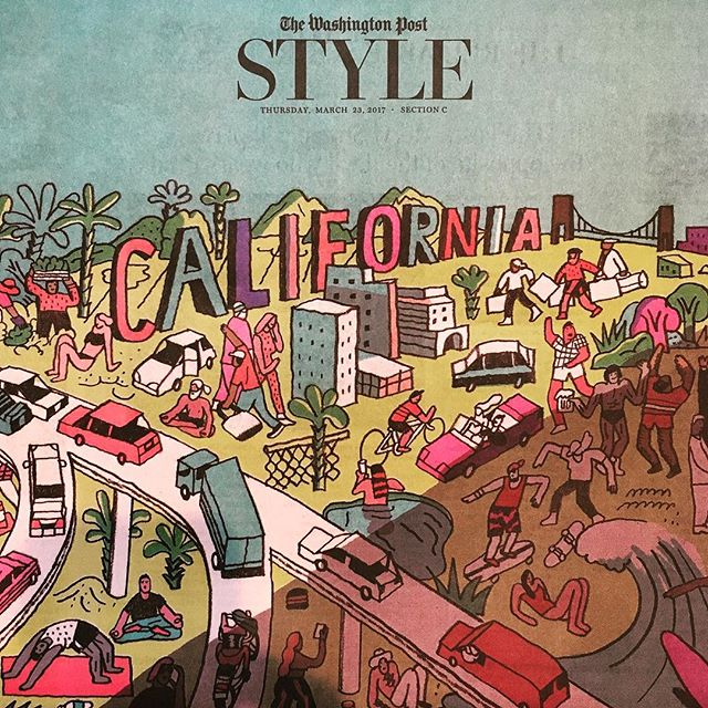 Link in bio to my piece on #California in the age of Trump. #Illo by @joshcochran. #wapowork #newsprint #newspaper #washingtonpost