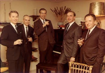 Dad in his  business prime  , second from right, evokes shades of the  Mad Men  series. Photo taken by his  'BFF'  , the recently departed and much-loved  Lou Geisling  .