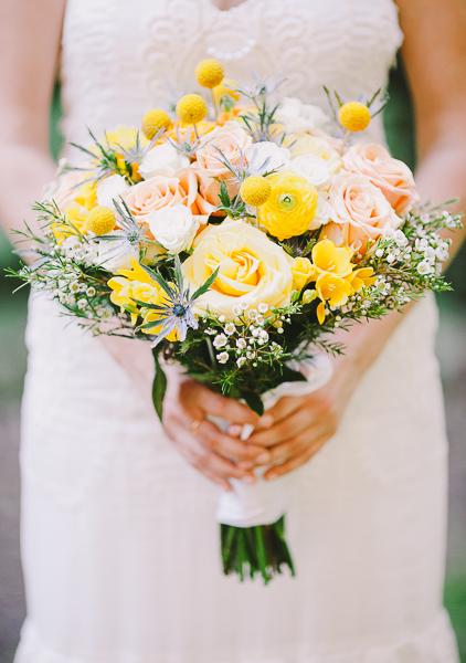 Bride holding a beautiful yellow bouquet - Sahara Coleman - Professional Wedding Photographer, Destination Photographer 2014 Seattle Washington