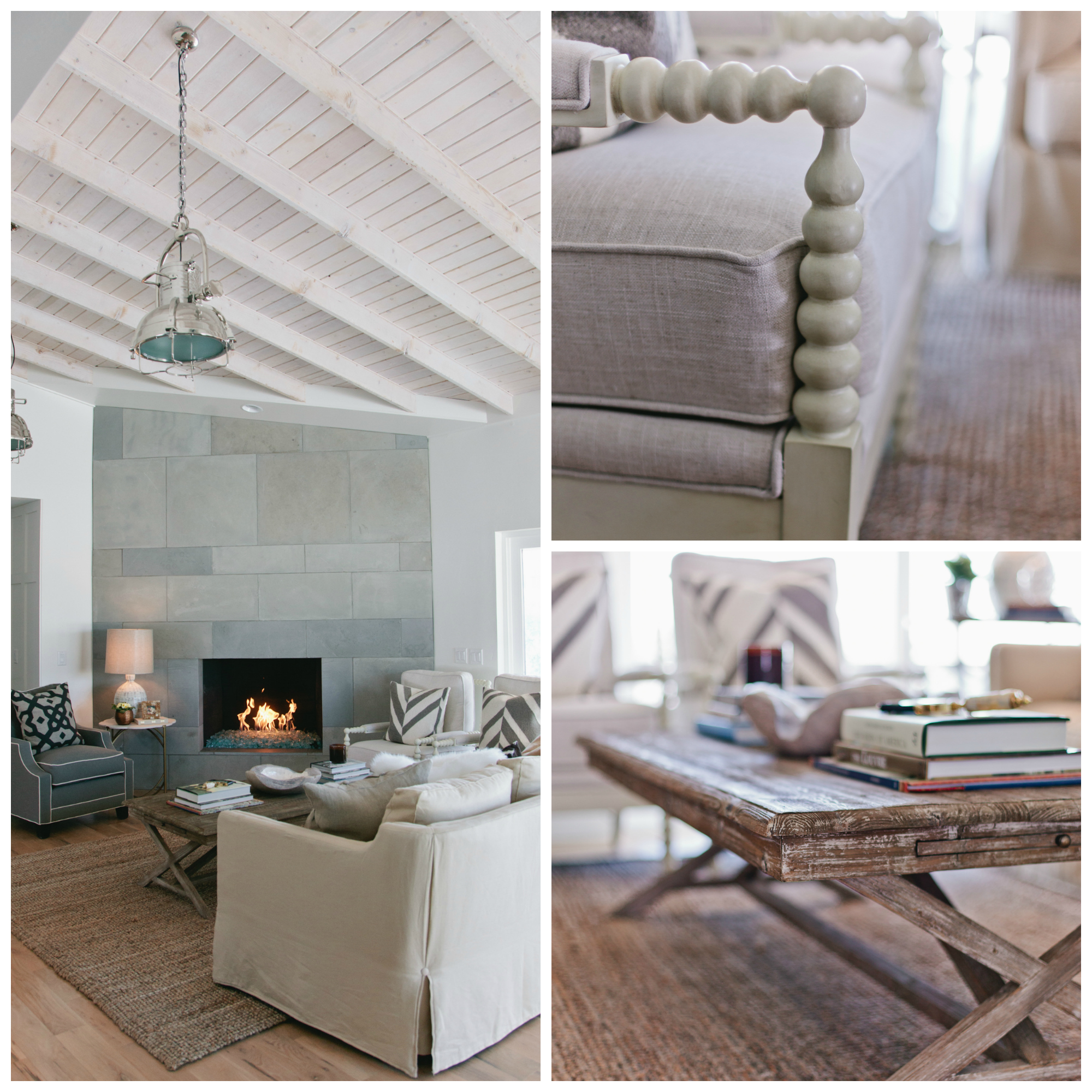 If I had to pick a theme for my house, I would label it as  Rustic Modern Industrial  . There are lots of natural elements like slate, white oak, glass and steel combined with distressed and casual furniture pieces. A textured rug, spooled accent chairs, and a coffee table that you can put your feet on complete the look.