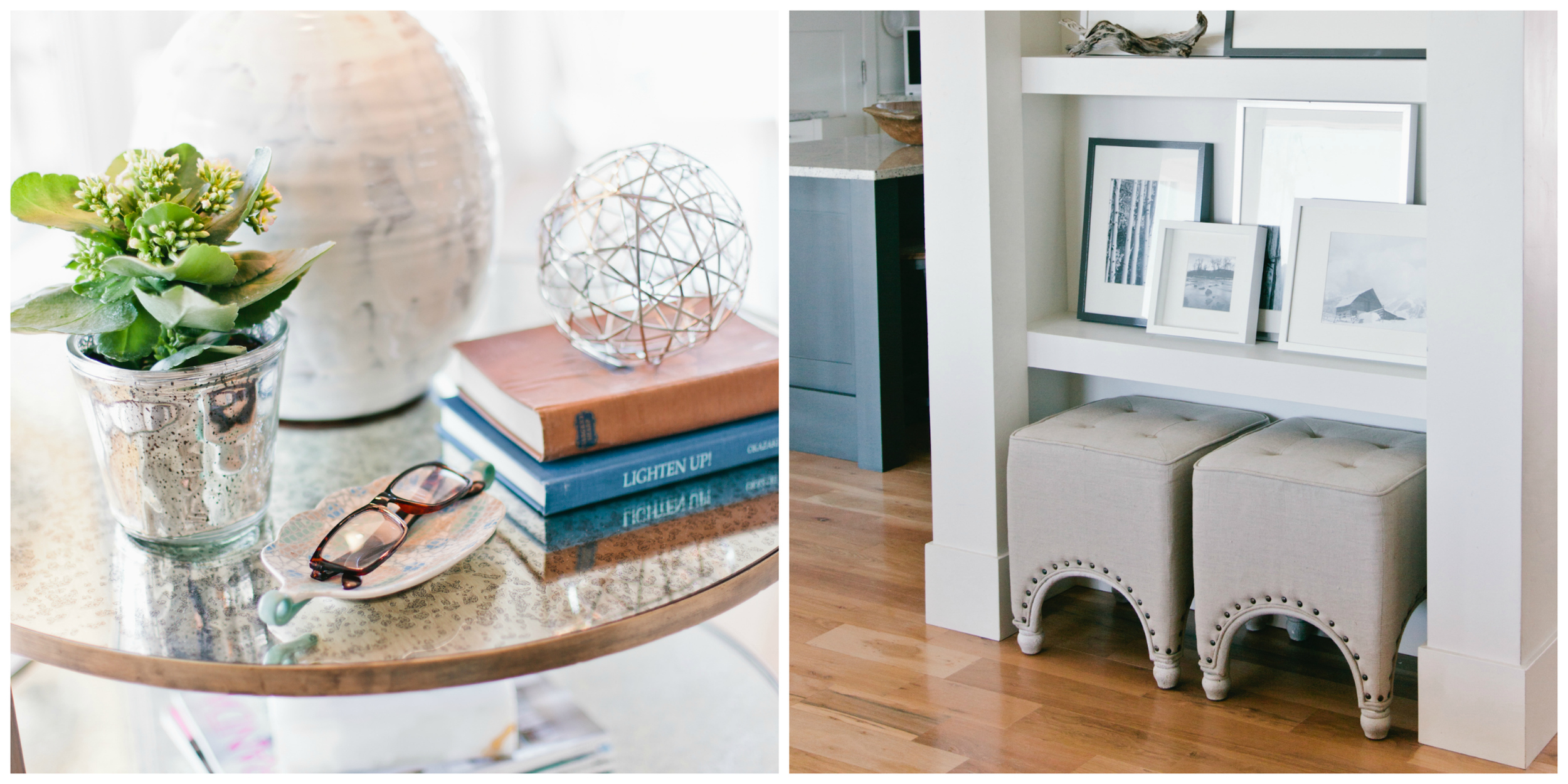 I wanted to add a touch of elegance to the laid back feel of the space, so I added a brushed brass side table with round mercury glass inlays. Linen tufted ottomans (extra seating) are conveniently tucked into a niche which displays black and white images of some of our favorite places.