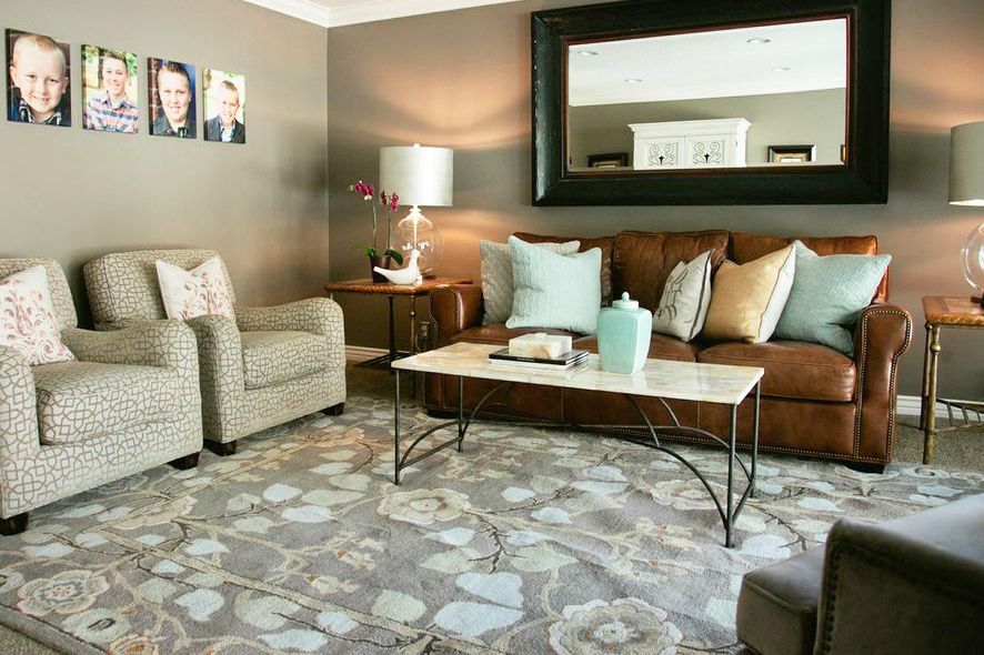 Above: Formal living room AFTER. This furniture was formerly in the basement. The paint color remained the same, but the colors of the furniture, area rug and accessories brighten the room.