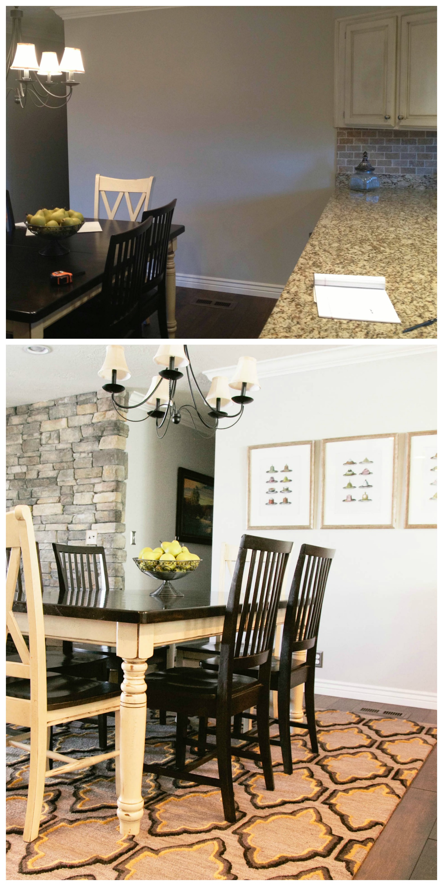 Above: Dining room BEFORE. Below: Dining room AFTER. Artwork and an area rug complete the space and tie it into the adjacent family room.