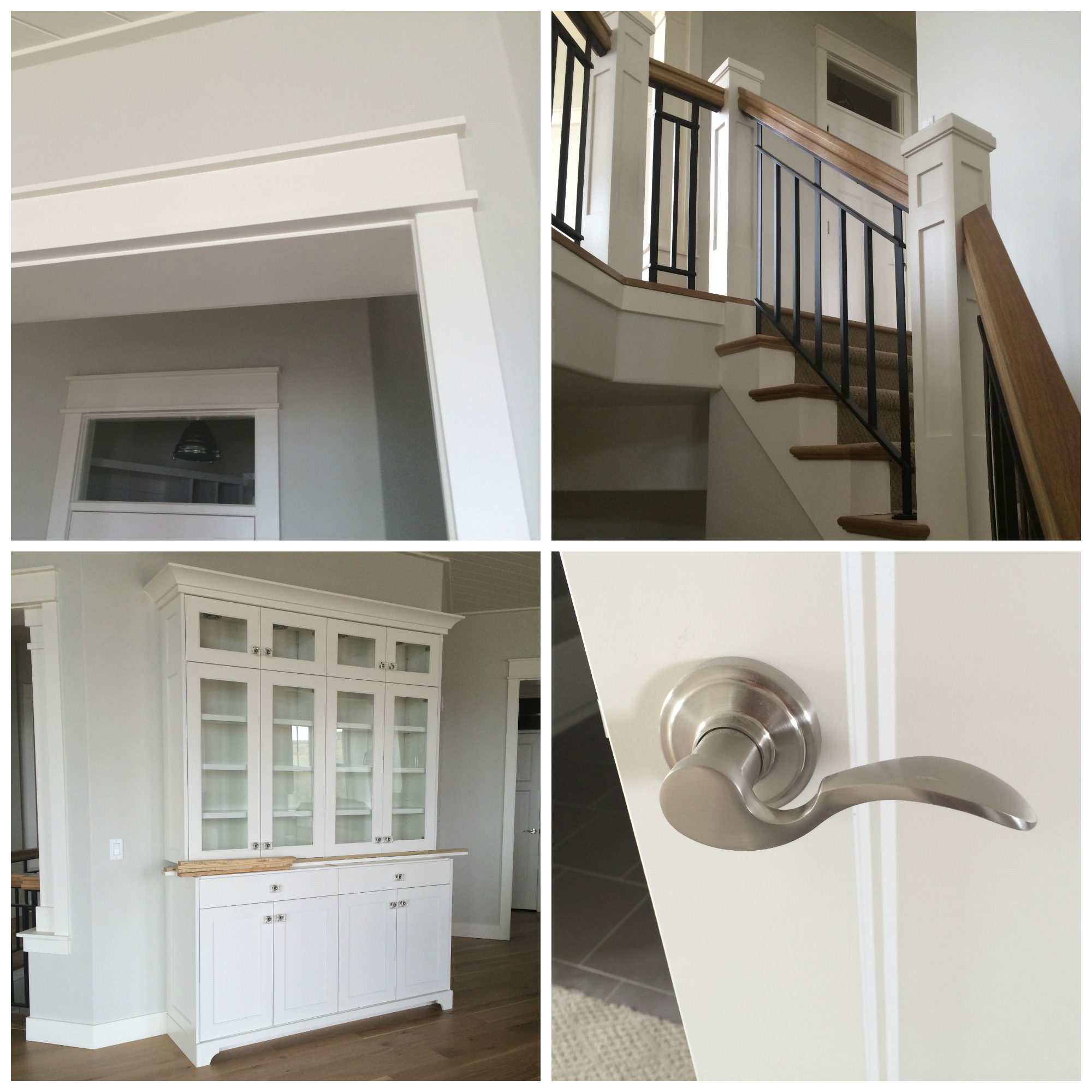 Upper left: A simple trim piece lines the top and bottom of the mission style casing for a more sophisticated look. Transom windows add light above each door frame. Upper right: A two tone, iron railing is anchored by a shaker style newel posts. Tread caps and risers also line the stairs. Bottom left: This custom built hutch, designed for the kitchen, features glass door fronts, crystal hardware, and decorative detailing. Bottom right: Brushed nickel levers were selected for the interior door hardware. Notice the detailed profile of the door panel.
