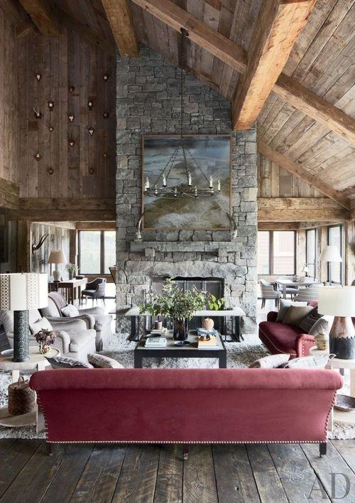 marsala sofa vaulted ceiling