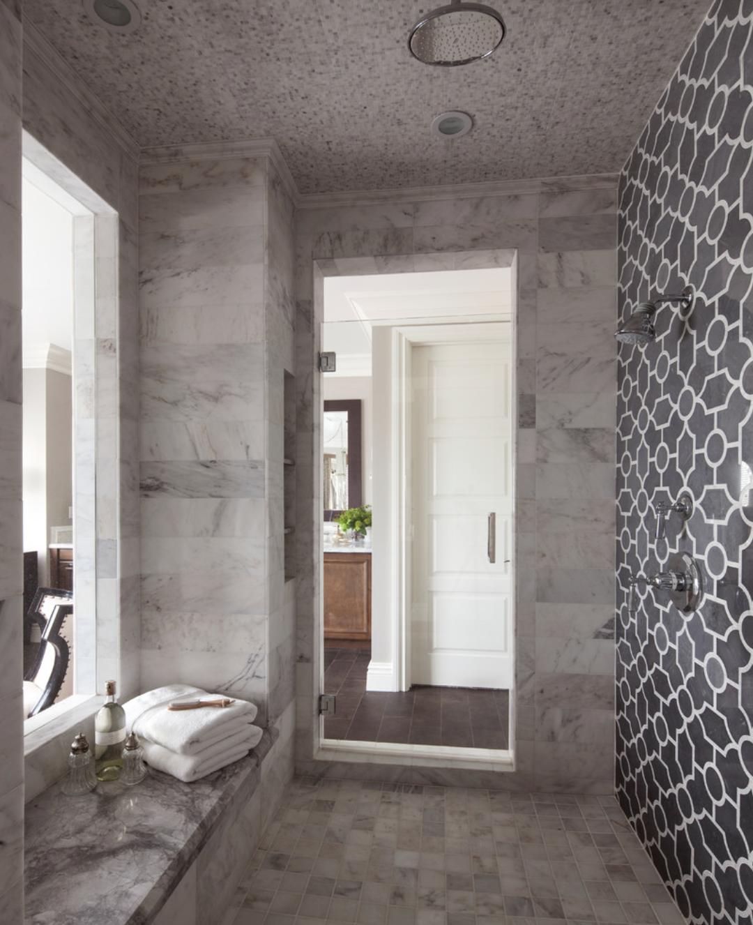 graphic tile shower