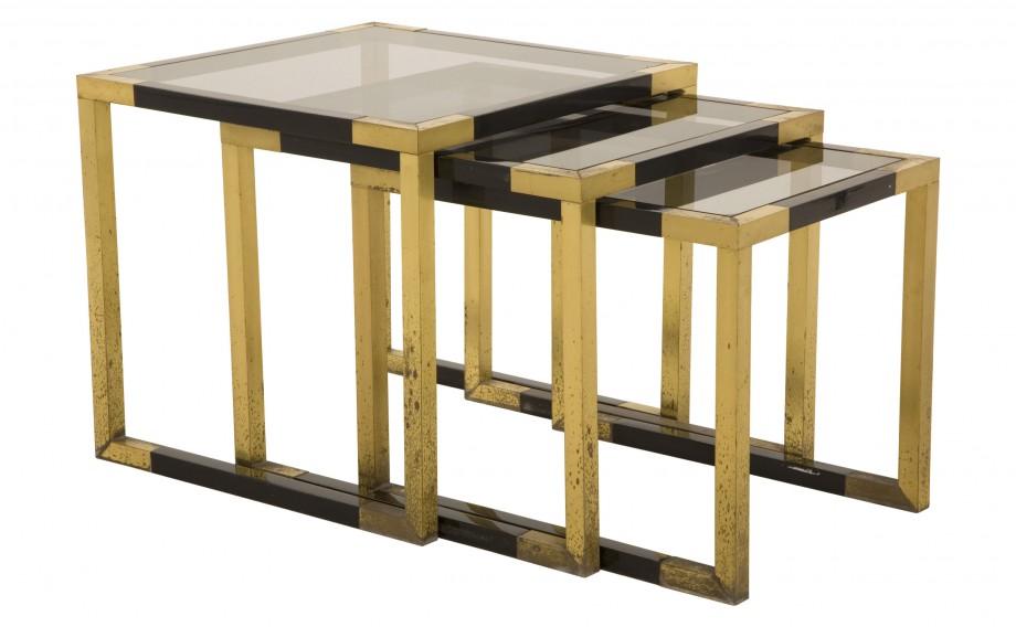 smokey glass nesting tables