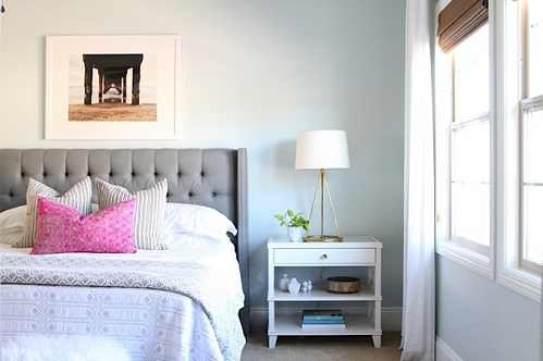 Becky Owens added just a touch of fresh +colorful to make this bedroom feel bright and rejuvenating.