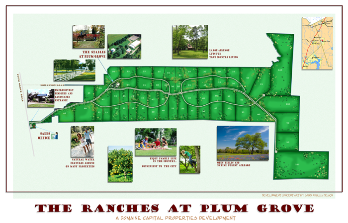 The concept plan for The Ranches at Plum Grove offers the freedom of relaxedlivingin the country, but enjoying the services offered by the cities and towns in the area.    This property is also perfect for the development of a recreation & hunting paradise in the Houston Metro Area. Its pristine wild & wooly bottomland along Tarkington Bayou with pine uplands is secluded yet easily accessible,