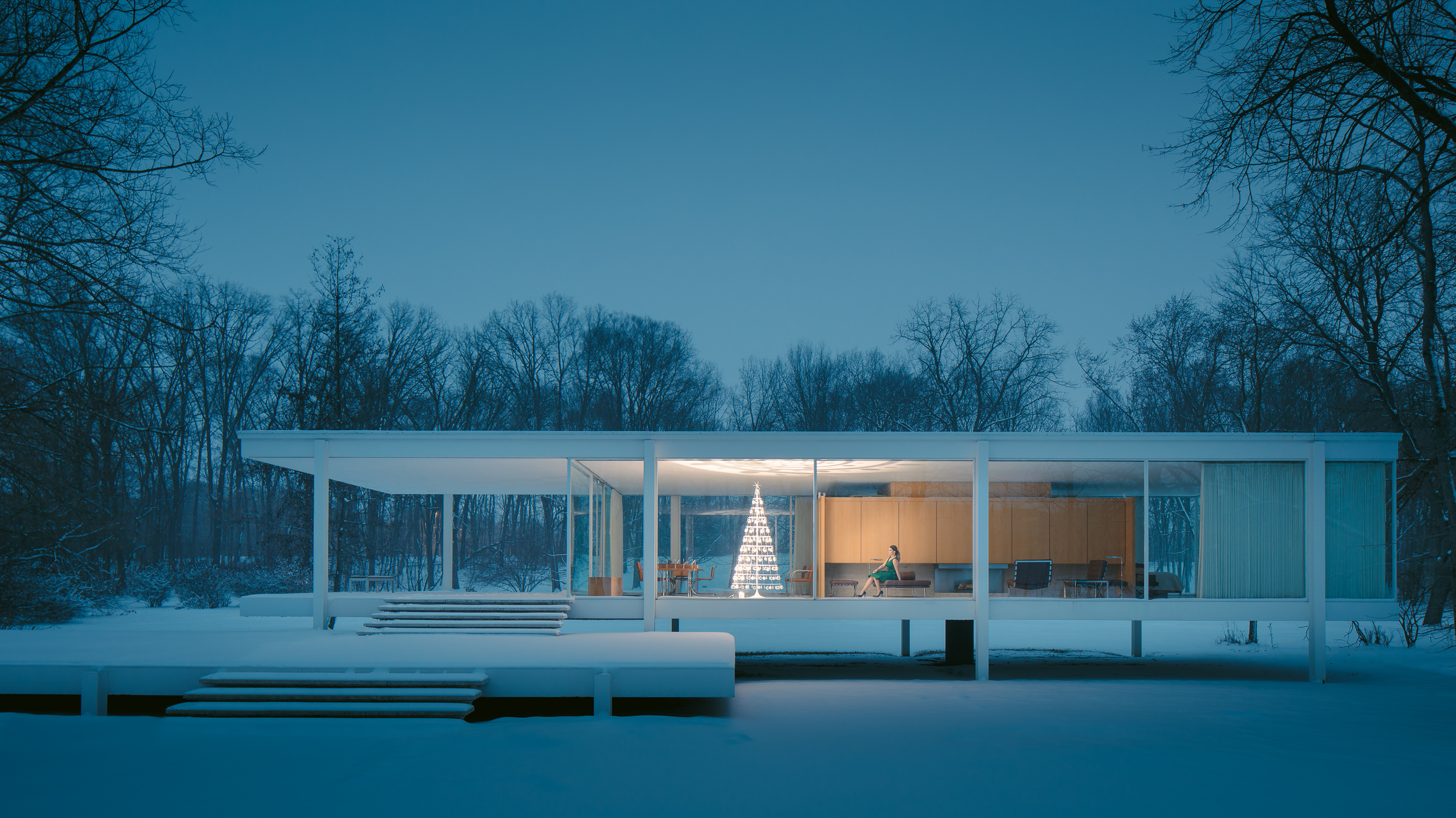 Modern Christmas Tree at the Farnsworth House © 2018 JC Buck