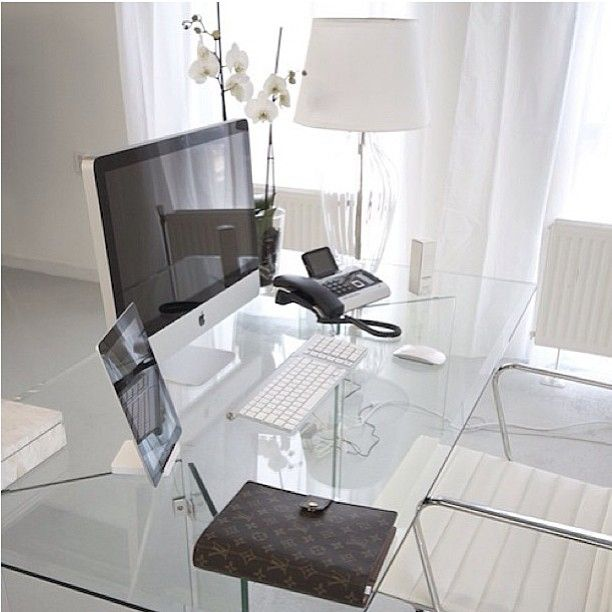 Small Home Office Design Ideas - Glass Desk — Hello Lovely Living