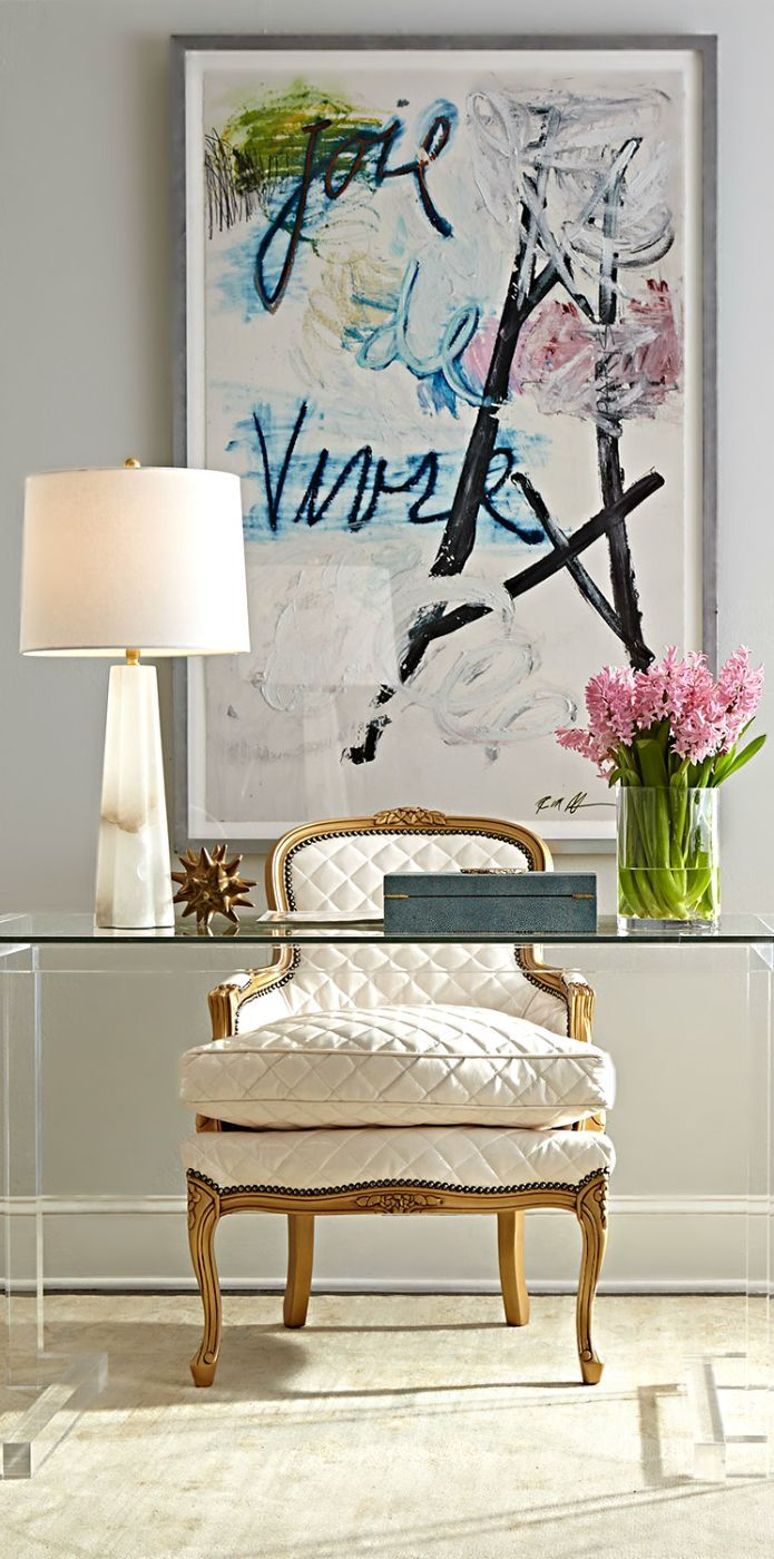 lovely home office design ideas | Small Home Office Design Ideas - Glass Desk — Hello Lovely ...
