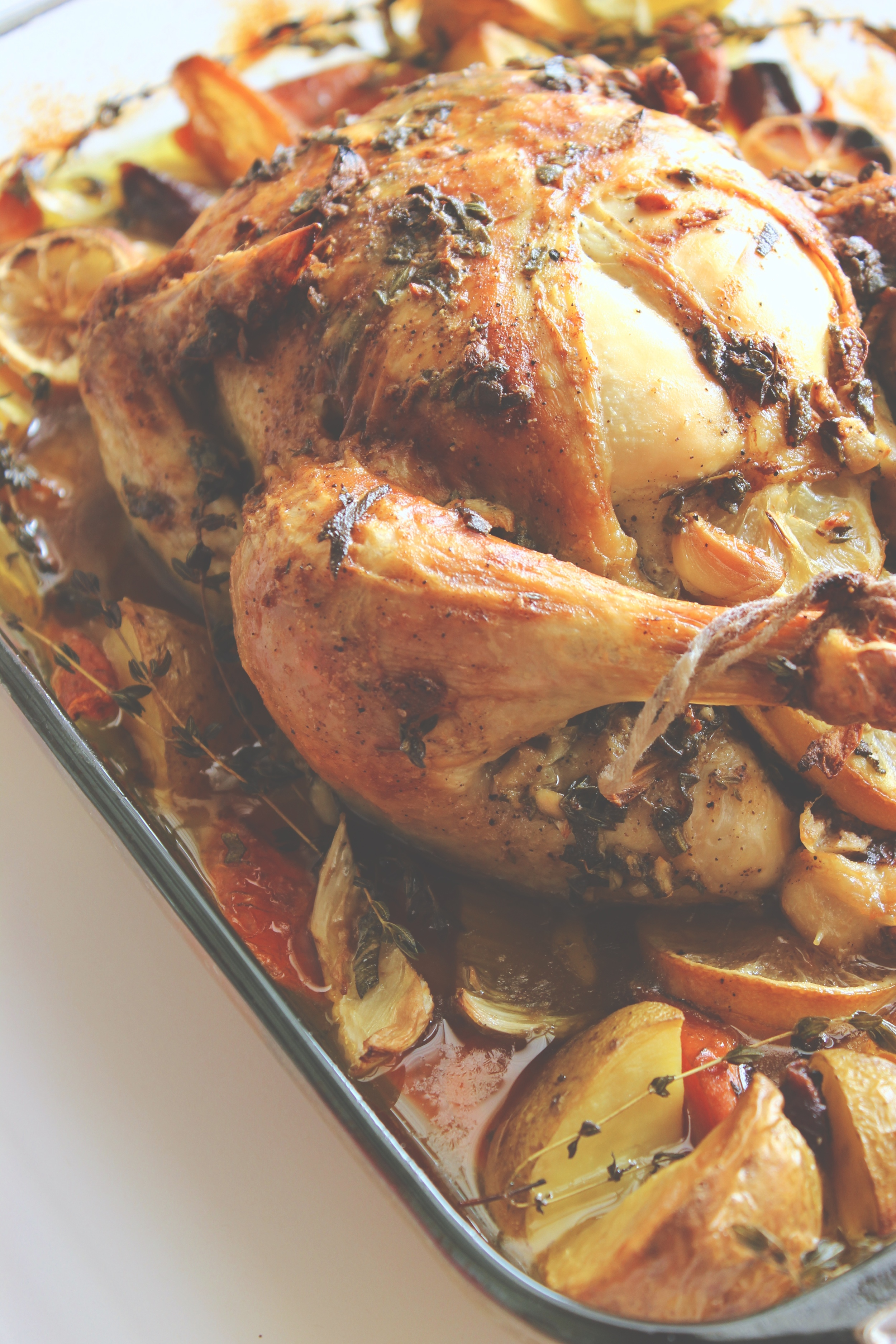Lemon Roast Chicken with Sage and Thyme