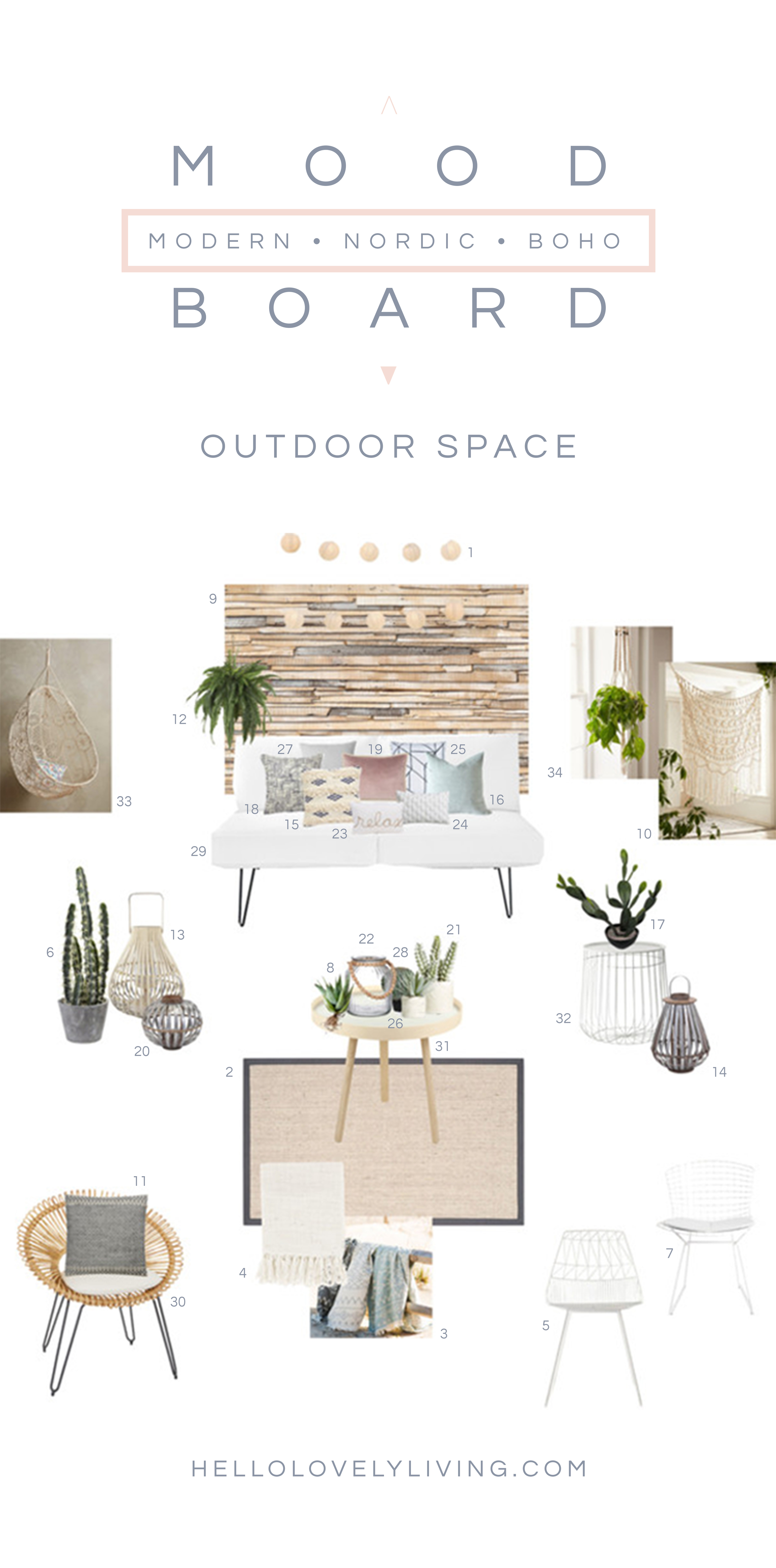 Moodboard | Modern Nordic and Boho Inspired Outdoor Space | HelloLovelyLiving.com