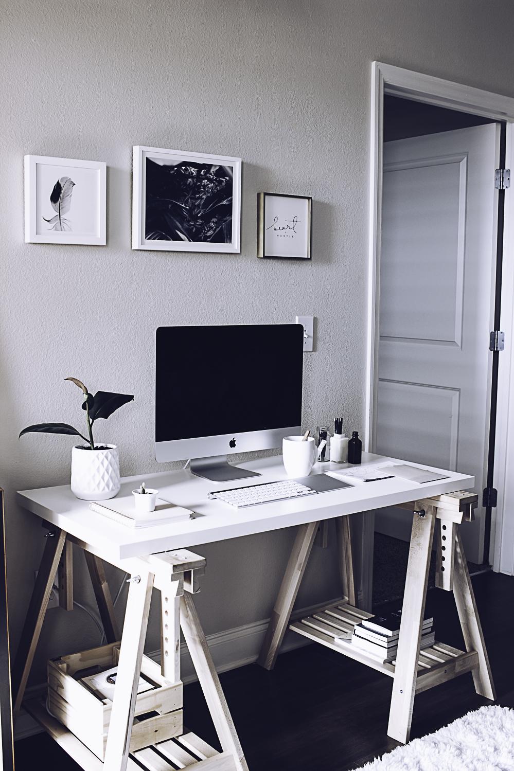 HelloLovelyLiving.com | Minimal Home Office + Minted Custom Art Prints